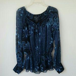 INC Silk Moody Floral Black & Blue Blouse-6